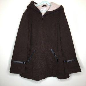 Susan Graver Small Brown Boucle Fleece Zip Coat